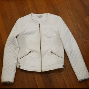 Forever 21 Quilted Faux leather white jacket